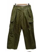 KICS DOCUMENT.(キクスドキュメント)の古着「C/LI DOUBLE TUCK CARGO PANTS」|グリーン