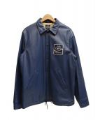 COOTIE PRODUCTIONS(クーティー プロダクションズ)の古着「Leather Garage Jacket」|ネイビー