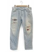 R.H.Vintage(ロンハーマンヴィンテージ)の古着「ダメージリペア加工デニムパンツ」 ブルー