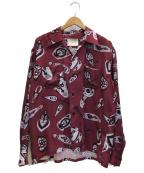 NEON SIGN()の古着「総柄オープンカラーシャツ」 レッド