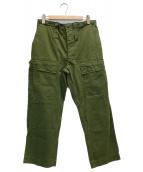VINTAGE(ヴィンテージ)の古着「80'Sファティーグトラウザーパンツ」|グリーン