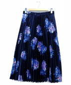 ROPE(ロペ)の古着「フラワープリントプリーツスカート」|ネイビー