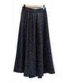 JOURNAL STANDARD(ジャーナルスタンダード)の古着「ハンマーサテンドットギャザースカート」|ブラック×ホワイト