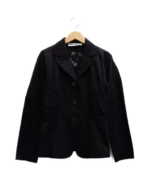 ISSEY MIYAKE(イッセイミヤケ)ISSEY MIYAKE (イッセイミヤケ) レース切替ジャケット ブラック サイズ:表記サイズ:1の古着・服飾アイテム