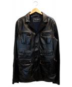 DOLCE & GABBANA(ドルチェアンドガッバーナ)の古着「ラムレザージャケット」|ブラック
