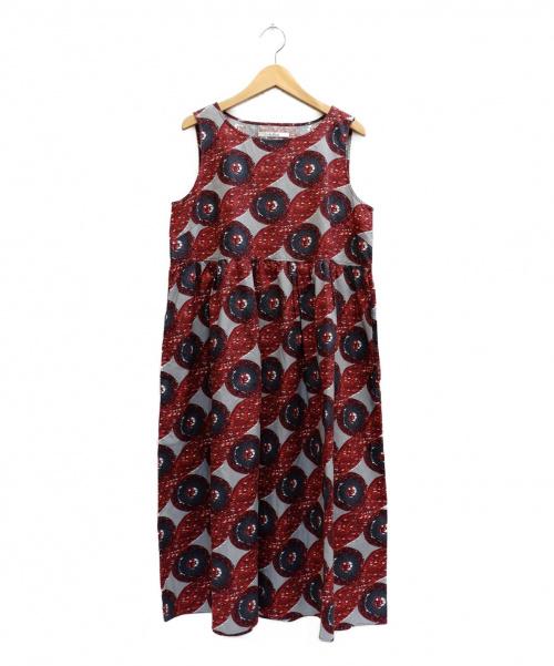 LE GLAZIK(ル・グラジック)LE GLAZIK (ルグラジック) 総柄ノースリーブワンピース レッド サイズ:表記サイズ:36の古着・服飾アイテム