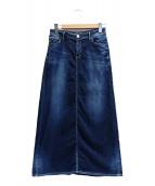 YANUK(ヤヌーク)の古着「ニットデニムロングスカート」|インディゴ