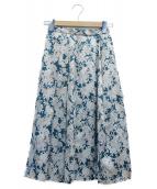 ROPE(ロペ)の古着「フラワープリントスカート」|グリーン