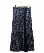 UNTITLED(アンタイトル)の古着「洗えるヴィンテージ風フラワープリーツスカート」|ネイビー