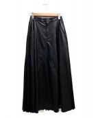 CLEANA(クリーナ)の古着「プリーツ切替Fレザースカート」|ブラック