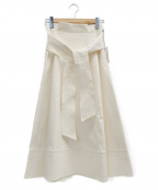 MICHEL KLEIN(ミッシェルクラン)の古着「ウエストリボンフレアスカート」|ホワイト