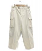 CellarDoor(セラドール)の古着「ウールナイロンフランネルサイドアジャスターカーゴパンツ」|ホワイト