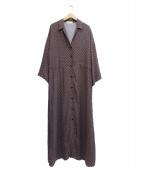 GALLARDA GALANTE(ガリャルダガランテ)の古着「小紋柄シャツワンピース」|ブラウン