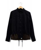 kolor/BEACON(カラービーコン)の古着「ドローコードジャケット」 ブラック×ブラウン