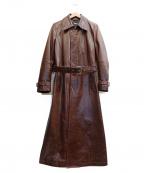 TORNADO MART(トルネードマート)の古着「ヴィンテージレザーロングコート」|ブラウン