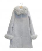QUEENS COURT(クイーンズコート)の古着「ファーウールコート」 ブルー
