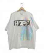 TAAKK(ターク)の古着「LOVE→HOPE SPANGLE Tシャツ」 ホワイト