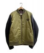SOFT MACHINE(ソフトマシン)の古着「袖切替ブルゾン」|グリーン×ブラック