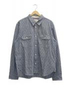 Trophy Clothing(トロフィークロージング)の古着「ストライプシャツ」|ホワイト×ネイビー
