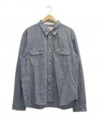 Trophy Clothing(トロフィークロージング)の古着「ストライプシャツ」 ホワイト×ネイビー