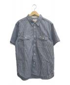 Trophy Clothing(トロフィークロージング)の古着「ストライプシャツ」|ネイビー