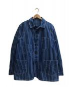 HEADLIGHT(ヘッドライト)の古着「9オンスウォバッシュストライプワークジャケット」 ブルー×ホワイト
