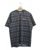 ()の古着「Grid Soccer Jersey Tシャツ」|ブラック×グレー