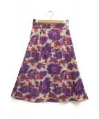 KUMIKYOKU(クミキョク)の古着「リバーシブルフラワーブーケジャガードスカート」|ピンク×パープル