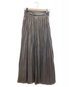 FRAY ID(フレイアイディー)の古着「レザーライクサテンプリーツスカート」 オリーブ