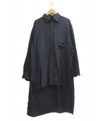 YohjiYamamoto pour homme(ヨウジヤマモトプールオム)の古着「Cupro Staff Shirt」|ブラック