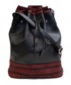 印傳屋(インデンヤ)の古着「巾着レザーショルダーバッグ」|ブラック