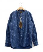 GLAD HAND(グラッドハンド)の古着「バンドカラーシャツ」 ブルー