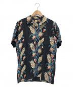 DELUXE(デラックス)の古着「オープンカラーシャツ」|ブラック×ブルー