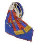 CHANEL(シャネル)の古着「スカーフ」 ブルー×レッド