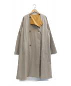 GALERIE VIE(ギャルリーヴィー)の古着「コンパクトコットンノーカラーコート」 ベージュ×オレンジ