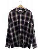 ROTT WEILER(ロットワイラー)の古着「Check Open Collar LS Shirt」 ブラック