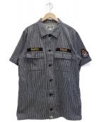 ()の古着「ヒッコリーワークシャツ」 グレー