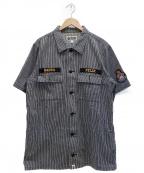 A BATHING APE()の古着「ヒッコリーワークシャツ」|グレー