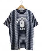 A BATHING APE()の古着「ボーダープリントTシャツ」|ネイビー×ホワイト
