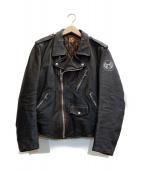 ()の古着「エイジング加工ライダースジャケット」|ブラウン