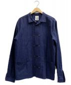 FRANK LEDER(フランクリーダー)の古着「ドットコットンリネンカバーオールシャツ」|ネイビー
