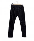 MINEDENIM(マインデニム)の古着「S.Slim STR 5pocket denim pants」|ブラック
