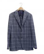 BARBA(バルバ)の古着「チェック柄ウールテーラードジャケット」|ブルー
