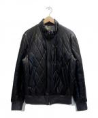 LANVIN COLLECTION(ランバンコレクション)の古着「ラムレザー中綿ジャケット」|ブラック