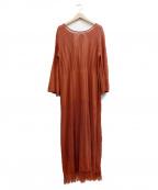 COLLAGE GALLARDAGALANTE(コラージュ ガリャルダガランテ)の古着「かぎ針風ストレートワンピース」|ブラウン