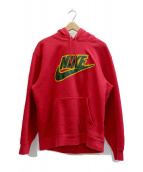 SUPREME × NIKE(シュプリーム × ナイキ)の古着「Leather Applique Hooded Sweats」|レッド