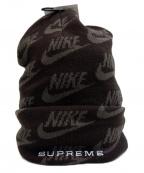 SUPREME × NIKE(シュプリーム × ナイキ)の古着「Jacquard Logos Beanie」|ブラック×グレー