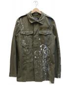 ()の古着「リメイクペイント加工ミリタリージャケット」|オリーブ
