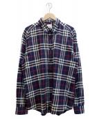 BURBERRY LONDON(バーバリーロンドン)の古着「チェックシャツ」|ネイビー×グレー