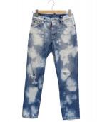 ()の古着「ダメージ加工ウォッシュドスキニーデニムパンツ」|ブルー